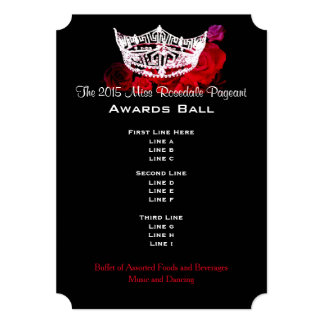 "Miss America style Crown & Roses Awards Ball/Invtn 5"" X 7"" Invitation Card"