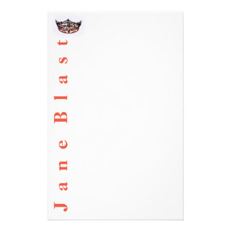 Miss America style Crown Stationery-Tangerine/Wht Stationery