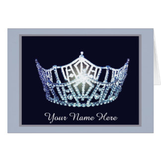 Miss America style Crown Thank You Card in Nvy/Blu