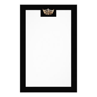 Miss America style Gold & Black Crown Stationery