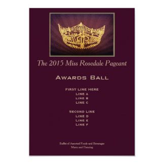 """Miss America style Gold Crown Awards Ball Card 5"""" X 7"""" Invitation Card"""