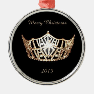 Miss America style Gold Crown Christmas Ornament