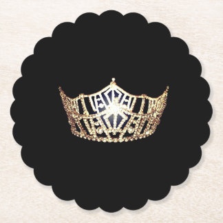 Miss America style Gold Crown Sclpd Paper Coasters