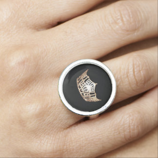 Miss America style Gold Crown Silver Ring
