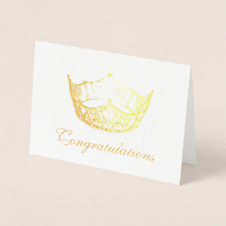 Miss America Style Gold Foil Crown Card-Congrats Foil Card