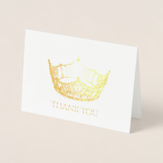 Miss America Style Gold Foil Crown Thank You Card