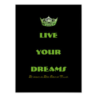 Miss America style Live Your Dreams Crown Poster