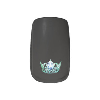 Miss America style Minx Nails Green Crown Minx Nail Art