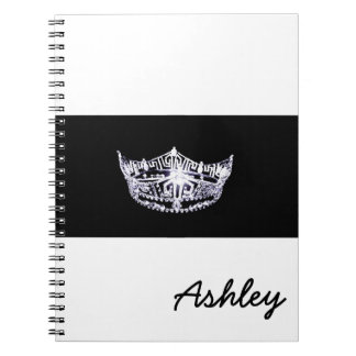 Miss America style Notebook-Crown & Custom Name Spiral Notebooks