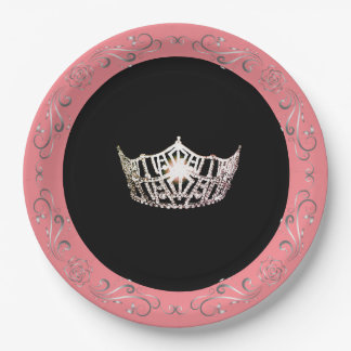 "Miss America style Pink-Coral 9"" Paper Plates"