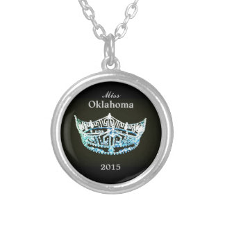 Miss America style Round Crown Necklace-Aqua/Black Silver Plated Necklace