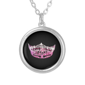 Miss America style Round Crown Necklace-Pink/Black Round Pendant Necklace