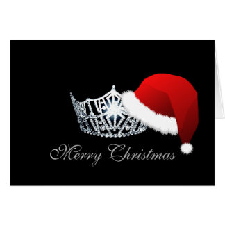 Miss America style Santa Hat Crown Christmas Card