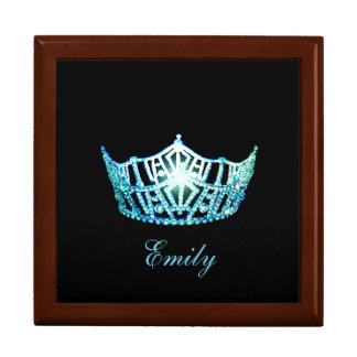 Miss America TURQ Crown Personal Name Jewerly Box
