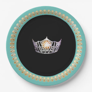"Miss America Turquoise 9"" Paper Plates"