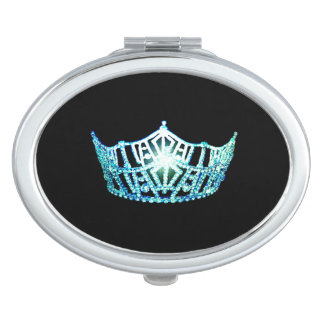 Miss America Turquoise Blue Crown Compact Mirror