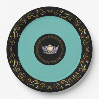 """Miss America Turquoise SLVR Crown 9"""" Paper Plates"""