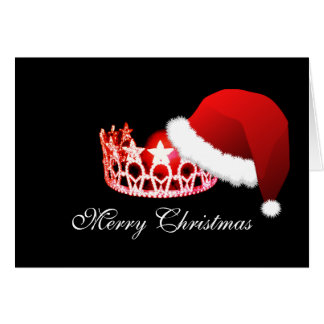 Miss America USA Santa Hat Red Crown Card