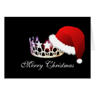Miss America USA Santa Hat Silver Crown Card