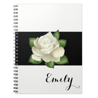 Miss America White Rose Notebook- Custom Name Notebook