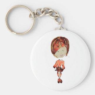 Miss-fit Ginger Digital Art Girl Basic Round Button Keychain