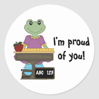 Miss Froggy/I'm proud of you! Round Sticker