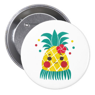 Miss Hawaiian Pineapple 3 Inch Round Button
