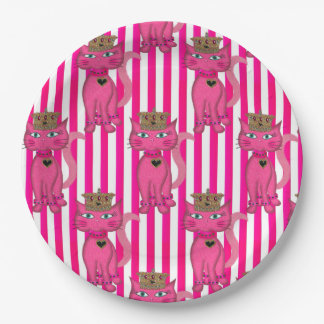 Miss Kitty Pink Glitter,Stripes 3AO-PAPER PLATES 9 Inch Paper Plate