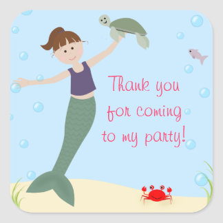 Miss Mermaid Party Matching Thank You Square Sticker