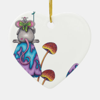Miss Mouse -coloured Ceramic Heart Ornament