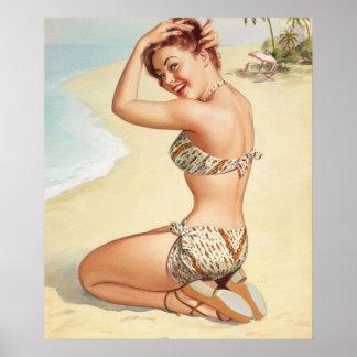 Miss Nassau, Aqua Tour series, 1947 Pin Up Art Poster