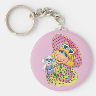 Miss Piggy Holding Puppy Basic Round Button Keychain