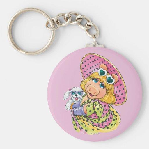 Miss Piggy Holding Puppy Keychains