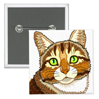 Miss Puddy Pat Cat Square Button