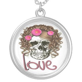 Miss Skull Round Pendant Necklace