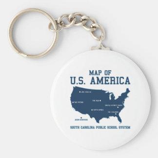 Miss South Carolina Map of US America Key Chain