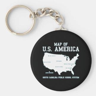 Miss South Carolina Map of US America Keychain
