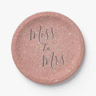 Miss to Mrs Bridal Shower Party Rose Gold Glitter Paper Plate
