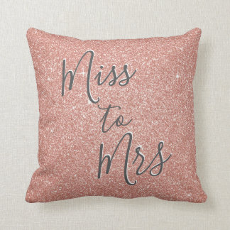 Miss to Mrs Bridal Shower Party Rose Gold Sparkle Throw Pillow