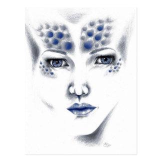 Miss Universe Alien Lady Original Art Postcard