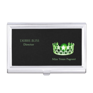 Miss USA Apple Green Crown Business Card Holder