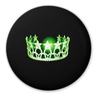 Miss USA Apple Green Crown Ceramic Cabinet Knob