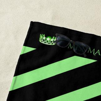Miss USA Apple Green Stripe Crown Beach Towel
