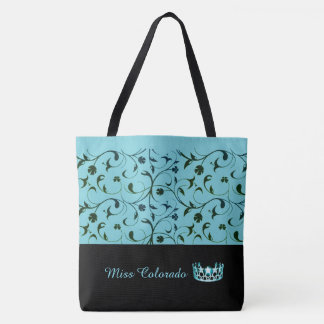 Miss USA Aqua Crown Tote Bag Green Scrolls