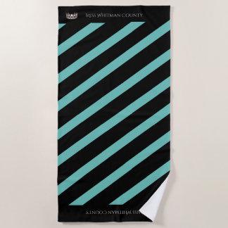 Miss USA Aqua Stripe SLVR Crown Beach Towel