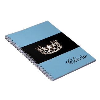 Miss USA Baby Blue Crown Notebook- Custom Name Note Book