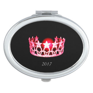 Miss USA cherry Red Crown Compact Mirror w/Date