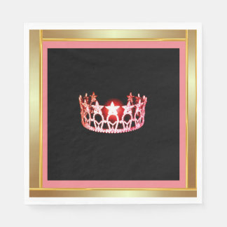 Miss USA Coral Crown Luncheon Paper Napkins