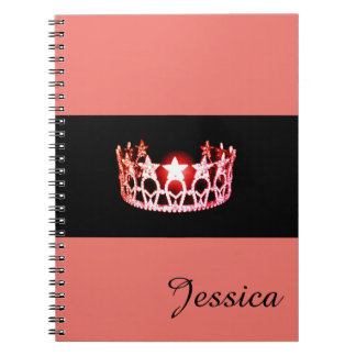 Miss USA Coral Crown Notebook- Custom Name Notebook