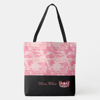 Miss USA Coral  Crown Tote Bag LRGE Pink Camo